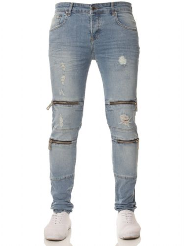 Mens idenim Skinny Slim Tapered Fit Distressed Zip Biker blue Stretchable Denim Jeans